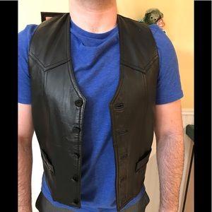 Gap leather men's vest vintage Sz med black